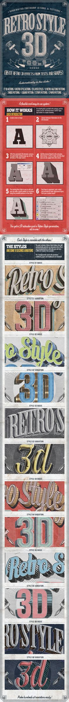 Retro Style 3D Tools – Photoshop Actions #retro #vintage #poster #3d #typography