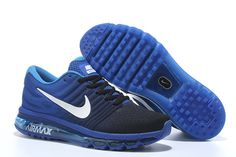 Knitting line all palm nano drop plastic technology Men's Air Max 2017 Sports Shoes blue black