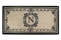 "Create your own style with this decorative Border Coco Fiber Door Mat. Durable and beautiful, this mat keeps shoes clean to protect your floors from mud, dirt and grime. It is flexible, robust and durable. This mat provides exceptional brushing action on footwear with excellent water absorption. Specification - Monogrammed Double Doormat with (N-Letter). Product Dimensions - *36"" x 72"" x 1.5"""