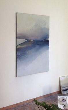Large Landscape Original Painting on Canvas Blue door MadlenDesign