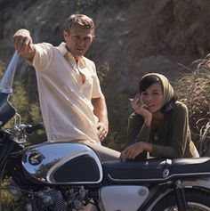 ClassicForever: Wallowing in Adorableness: Steve McQueen and Neile Adams #steve #mcqueen #honda #motorcycle
