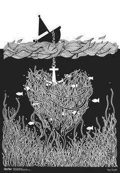 Don't Panic by Magda Łupińska #fish #sea #black #ship #magda #anker #don panic #upiska #lisy #lisystudio