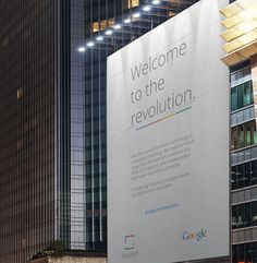 Google Squared 'Welcome to the revolution.' Billboard: http://jackwmorgan.com/rebranding-google-squared/ #squared #branding #billboard #big #design #minimalism #advertising #brand #identity #ad #google #logo