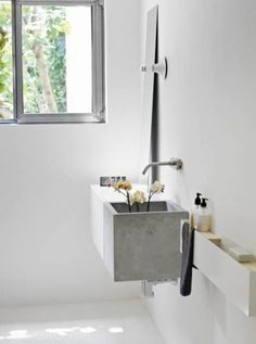 for home / picture by Fabrizio Cicconi #design #white #interior #concrete #bathroom