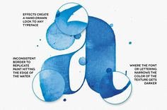 AquaType – Vector Watercolor Effects #water #color #retro #type #typography