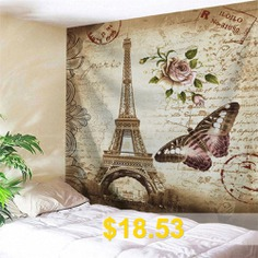 Vintage #Butterfly #Eiffel #Tower #Wall #Tapestry #- #LIGHT #BROWN