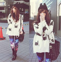 Romwe Shredded Cat Print Sweater, Gowigasa Black Triangle Necklace, Face To Face Black Boots, Skull Studded Bag, Cat Ears Beanie, Galaxy Leg