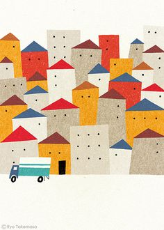Moving #car #poster #illustration #houses #town
