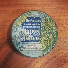 Dr. Pierces Lotion Tablets tin. #flourishes #packaging #hunting #vintage #type #typography