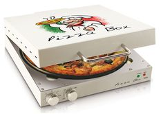 There's never a cold slice left in this pizza box! The Pizza Box pizza oven is a great small appliance for pizza lovers everywhere. #modern #design #home #product #kitchen #industrial