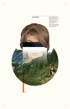 #poster #collage #design #minimal #robertfrost #poem #thomasadcock #theletterthomas