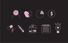 Hand Drawn Chalk Style Icons for The Design Clinic