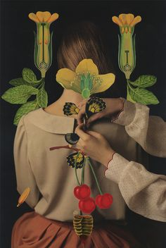 #collage #flowers #plants #woman #nature