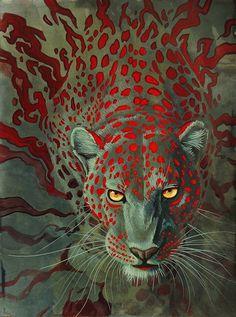 Creative Illustrations by Hillary Luetkemeyer #hidden #jaguar #camouflage #spots #feline #cat #illustration #fierce #animal