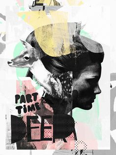 Raphael Vicenzi, collage, female, deer, color, black and white, shape
