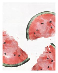 art, watercolor, colors, fruit, watermelon, print,