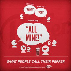 "Dr Pepper - ""What People Call Their Pepper"" Infographic by Hannah J. Nicdao #pepper #vector #red #beverage #dpsg #pop #infographics #dr #illustration #soft #drinks #cute #soda"