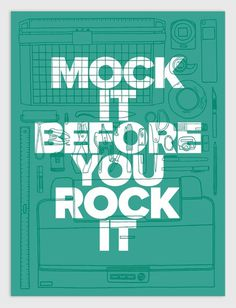 Mock it Before You Rock it #cut #print #scissors #grid #illustration #handmade #drawn #poster #hand #humor #typography