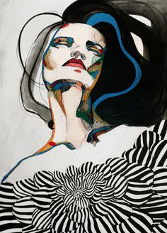 Relapse - Katie Melrose #girl #colors #patterns #portrait #ink #watercolor