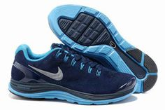 Mens Nike LunarGlide+ 4 Premium Midnight NavyBlue Glow-Silver Shoes #fashion