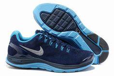 Mens Nike LunarGlide+ 4 Premium Midnight NavyBlue Glow-Silver Shoes #fashion