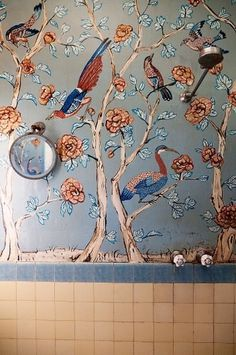 Peter Curnow & Gavin Brown #painted #bathroom #the #birds #peter #gavin #brown #selby #wallpaper #hand #curnow