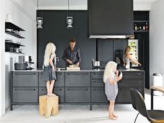 Matte black kitchen via Dwell