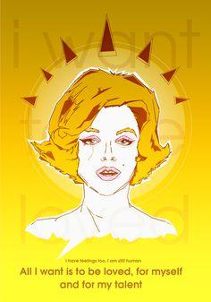 [ BE LOVED ] Artwork inspired by Marilyn Monroe Poems. #monroe #yellow #myself #be #love #marilyn #tears #loved