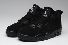 All Black Sports Trainers Nike Michael Jordan IV 4 Mens #fashion