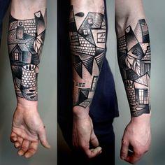Tattoo, cubism, art