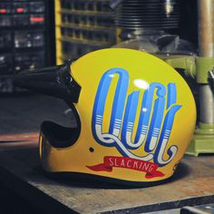 Quit Slacking | Hand-lettering on helmet #typography #lettering #helmet #kallos