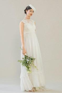 Robe de mariée vintage ligne a de col haut avec décoration dentelle fermeutre eclair - photo 1
