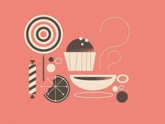 Dribbble - Candies by Romain Diguet #pink #cupcakes
