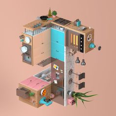 RUBIK Kitchen #3D #interior #rubik #pov #architecture #perspective #kichen #pink #orange