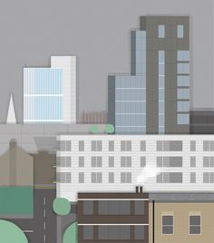 London Cityscape #london #city #town #illustration #minimal