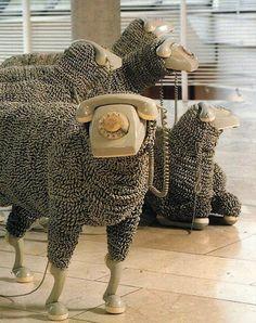 sheeps_vintage_telephones_01 #sheep #phone #art #installation
