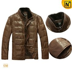 Mens Leather Down Jacket Brown CW880028 #jacket #down #leather