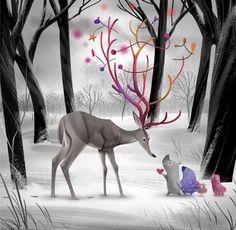 Happy Holidays « Oren Haskins – Blog #christmas #illustration #monochromatic
