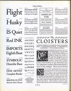 Cloister Oldstyle was designed by M. F. Benton for ATF in 1913. #typography