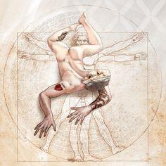 Spirit Animals 2016 Burning Man Edition - Bearded Dragon #figuredrawing #Male #animals #Davinci #Burningman #nude #anatomy #gayart