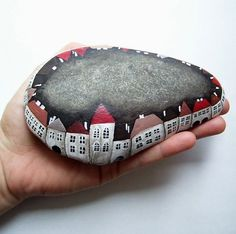 a rock town! #house #stone #rock #town #paint