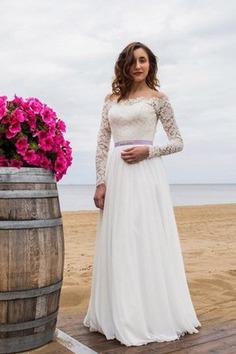 Robe de mariée delicat avec manche longue ceinture en étoffe appliques d'epaule ecrite - photo 1