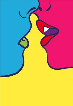 Kiss by Adrià Molins. Original photo by Anna Morosini #vector #amor #pink #adriamolins #art #blue #love #kiss