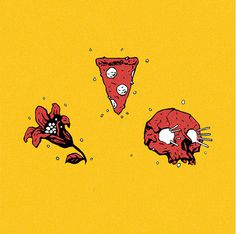 Visual Graphc Yes Bear Items by Stefan Tosheff #flower #illustration #pizza #skull