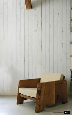 SCRAPWOOD WALLPAPER #interior #white #plank #design #walpa #wood #furniture #natural #eco #armchair