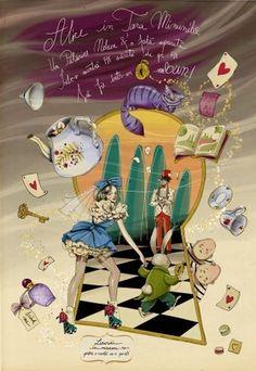 Allistration #alice #perfume #illustration #key #wonderland #twins #rabbit #cup #typography