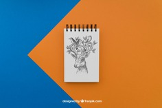 Notepad with deer drawing Free Psd. See more inspiration related to Paper, Bird, Animal, Doodle, Deer, Notebook, Note, Sketch, Drawing, Clean, Draw, Notepad, Sketchy and Note paper on Freepik.