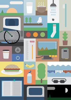A to B #computer #vector #banana #health #icons #food #bird #illustration #swim #bed #poster #bike
