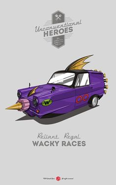 Drat!, Double Drat! & Triple Drat! #unconventionalheroes #reliant #royal #wacky #poster #car #races