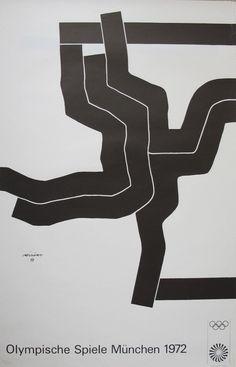 1972 Munich Olympics Art Series  Artist: Eduardo Chillida  £175  64 x 101cm  Original 1972 Olympic Poster